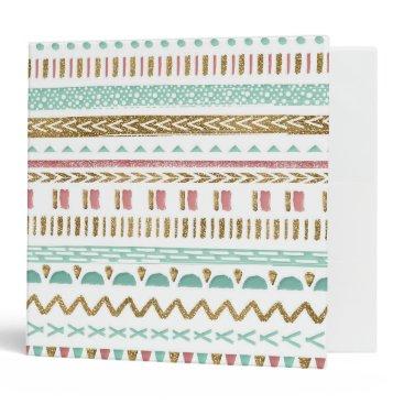 Aztec Themed Pretty hand paint tribal Aztec geometric design 3 Ring Binder