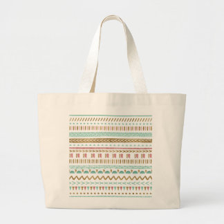 Pretty hand paint tribal Aztec geometric design Large Tote Bag