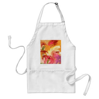 Pretty hand painted floral collage bright adult apron