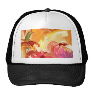 Pretty hand painted floral collage bright mesh hat