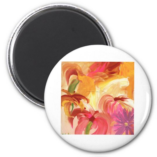 Pretty hand painted floral collage bright magnet