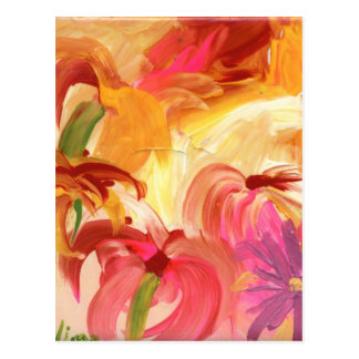 Pretty hand painted floral collage bright postcard