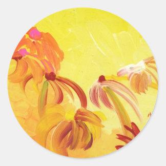Pretty Handpainted Flowers Round Sticker