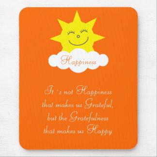 Pretty Happiness & Gratitude Happy Sun Orange Mouse Pad