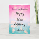 """Pretty Happy 16th Birthday Granddaughter Card<br><div class=""""desc"""">A pretty happy 16th birthday granddaughter card, which you can easily personalize with her name. Inside this pretty pink and blue bokeh birthday card reads """"May your birthday and every day be filled with love, laughter and happiness"""". You can also personalize the birthday message inside the card if you would...</div>"""