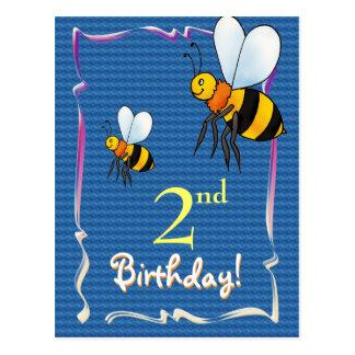 Pretty Happy Birthday postcard with bee