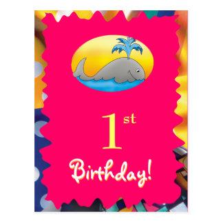 Pretty Happy Birthday postcard with cute whale