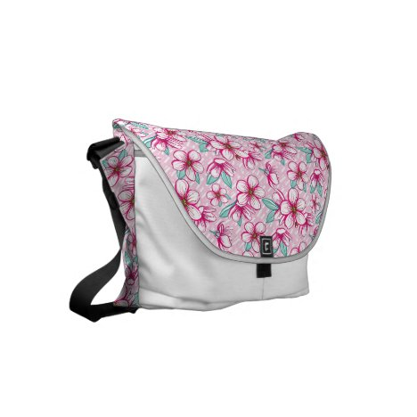 Pretty hawaiian cherry blossoms small messenger bag