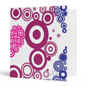 Pretty Heart Concentric Circles Girly Teen Design 3 Ring Binders