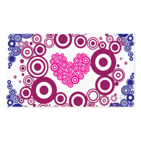 Pretty Heart Concentric Circles Girly Teen Design Business Cards