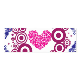 Pretty Heart Concentric Circles Girly Teen Design Business Card Template