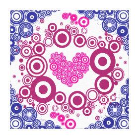 Pretty Heart Concentric Circles Girly Teen Design Canvas Print