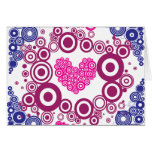 Pretty Heart Concentric Circles Girly Teen Design Greeting Card
