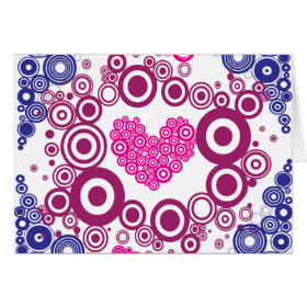Pretty Heart Concentric Circles Girly Teen Design Card