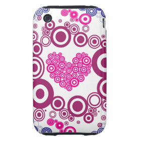 Pretty Heart Concentric Circles Girly Teen Design iPhone 3 Tough Cases
