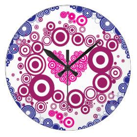 Pretty Heart Concentric Circles Girly Teen Design Wall Clocks