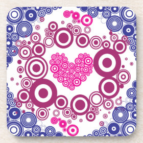 Pretty Heart Concentric Circles Girly Teen Design Drink Coasters