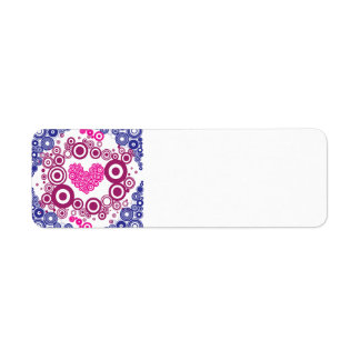 Pretty Heart Concentric Circles Girly Teen Design Label