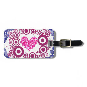 Pretty Heart Concentric Circles Girly Teen Design Travel Bag Tags