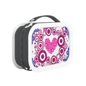 Pretty Heart Concentric Circles Girly Teen Design Lunch Box