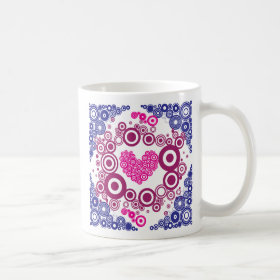 Pretty Heart Concentric Circles Girly Teen Design Coffee Mug