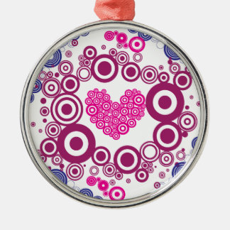 Pretty Heart Concentric Circles Girly Teen Design Round Metal Christmas Ornament