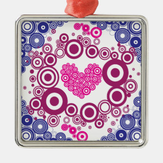 Pretty Heart Concentric Circles Girly Teen Design Square Metal Christmas Ornament