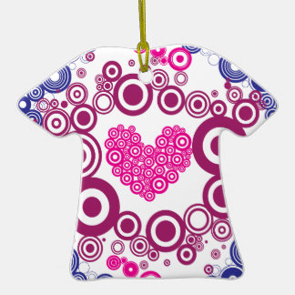 Pretty Heart Concentric Circles Girly Teen Design Double-Sided T-Shirt Ceramic Christmas Ornament