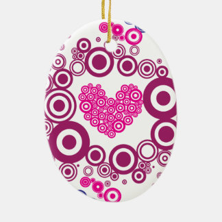 Pretty Heart Concentric Circles Girly Teen Design Double-Sided Oval Ceramic Christmas Ornament