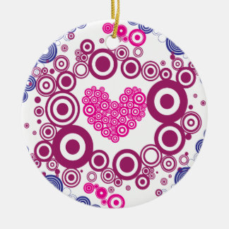 Pretty Heart Concentric Circles Girly Teen Design Double-Sided Ceramic Round Christmas Ornament