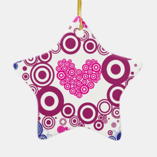 Pretty Heart Concentric Circles Girly Teen Design Double-Sided Star Ceramic Christmas Ornament