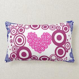 Pretty Heart Concentric Circles Girly Teen Design Throw Pillow