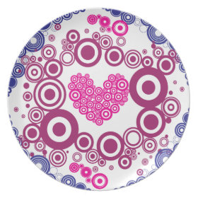 Pretty Heart Concentric Circles Girly Teen Design Dinner Plates