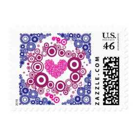 Pretty Heart Concentric Circles Girly Teen Design Postage