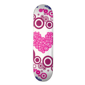 Pretty Heart Concentric Circles Girly Teen Design Skate Boards