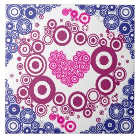 Pretty Heart Concentric Circles Girly Teen Design Ceramic Tiles
