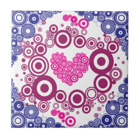 Pretty Heart Concentric Circles Girly Teen Design Ceramic Tile