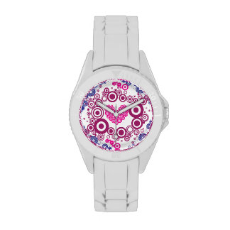 Pretty Heart Concentric Circles Girly Teen Design Watch