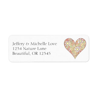 Pretty Heart Filled with Flowers Address Label