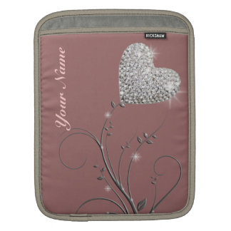 pretty heart jewel flower iPad sleeve