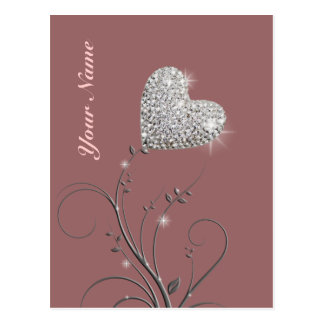 pretty heart jewel flower postcard