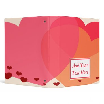 Professional Business Pretty Hearts 3-Ring Binder 1""