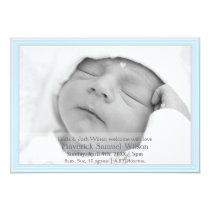 Pretty hearts Blue Mod New Baby photo Announcement