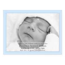 Pretty hearts Blue Mod New Baby photo Announcement Postcard