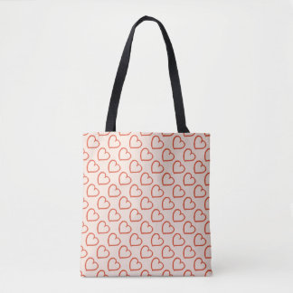 Pretty hearts design red on pink tote bag
