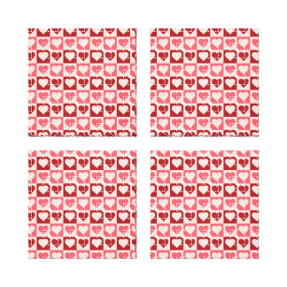 Pretty Hearts in Squares Valentine's Day Gifts Stretched Canvas Print
