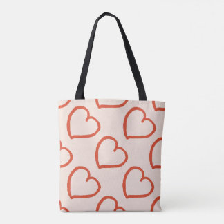 Pretty hearts pattern red on pink tote bag