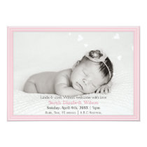 Pretty hearts Pink Mod New Baby photo Announcement