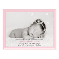 Pretty hearts Pink Mod New Baby photo Announcement Postcard