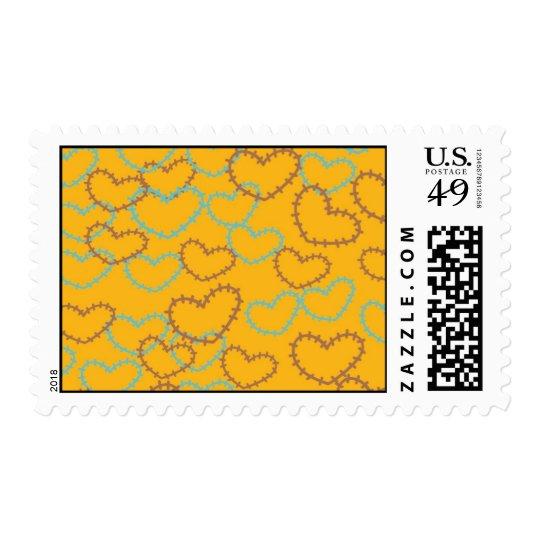Pretty Hearts Stitches Line Art Orange Blue Brown Postage